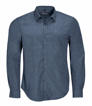 01428 SOL'S Barnet Long Sleeve Heather Poplin Shirt